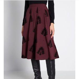 Maroon Peacock Print Skirt